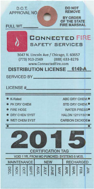 Illinois 2015 fire extinguisher certification tag