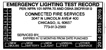 Emergency light testing label